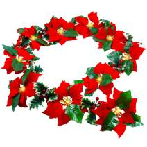 Twinkle Star Pre-Lit Christmas Poinsettia Garland with Red Berries and Holly Leaves, 6 FT Velvet Artificial Flower Xmas String Lights, Battery Operated Waterproof Cordless Indoor & Outdoor Decorations