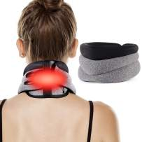 Heated Neck Brace Cervical Collar for Neck Pain Relief, Neck Support Brace with Back Neck Heating Pad for Neck Pain and Support, Heat Therapy for Spinal Pain and Pressure Relief
