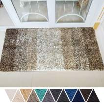 DEARTOWN Non-Slip Shaggy Bathroom Rug,Soft Microfibers Bath Mat with Water Absorbent, Machine Washable(Multicolor-Brown,27.5x47 Inches)