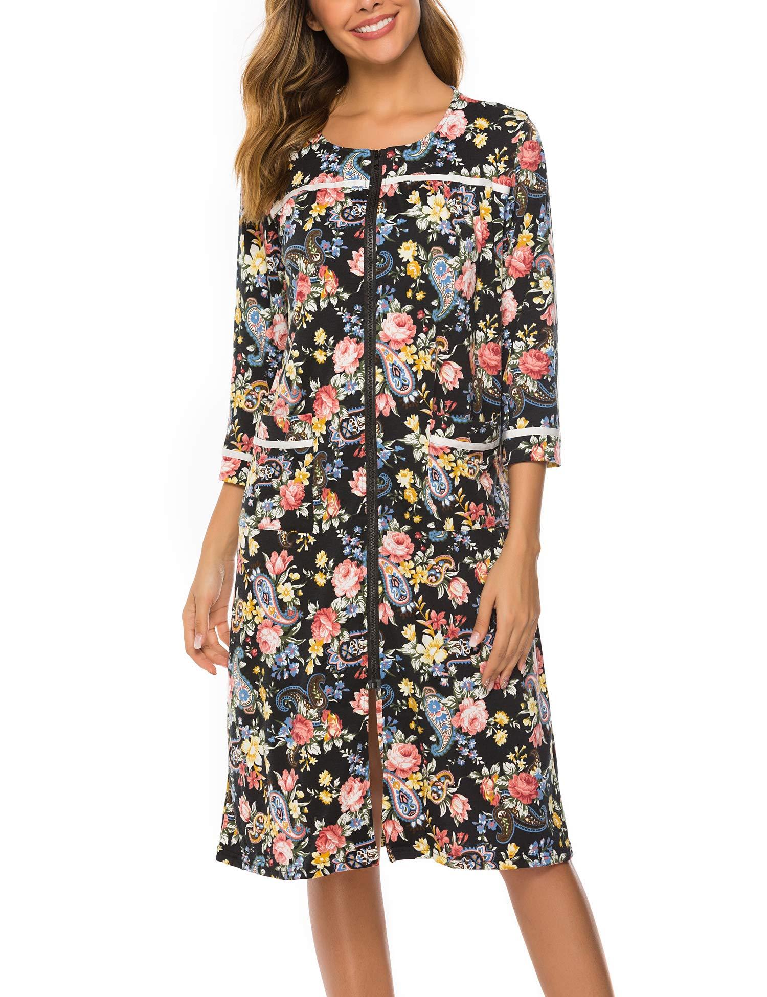 UUANG Women Zipper Robe Half Sleeve Loungewear Knee Length Nightgown Duster Housecoat with Pockets S-XXL