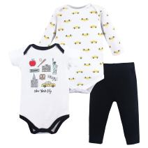 Hudson Baby Unisex Cotton Bodysuit and Pant Set