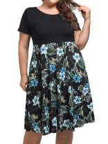 kissmay Plus Size Women's Short Sleeve Fit and Flare Casual Midi Dresses with Pockets