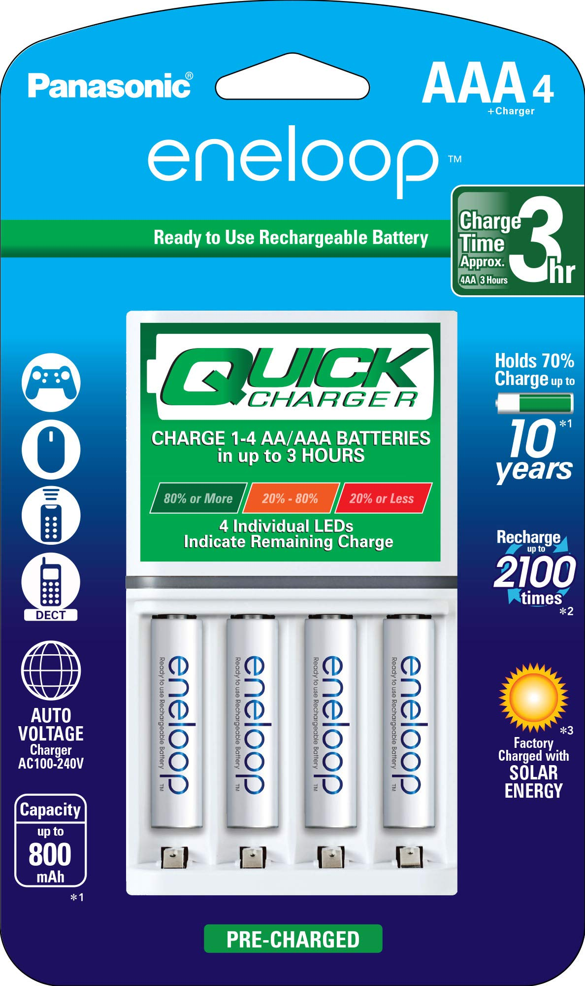 Panasonic K-KJ55M3A4BA Advanced Individual Battery 3 Hour Quick Charger with 4 AAA eneloop Rechargeable Batteries, White