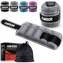 AMBOR Ankle Weights, Adjustable Leg Weights Straps for Exercise, Wrist Weight Set for Women and Men