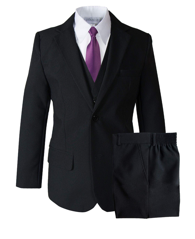 Spring Notion Big Boys' Modern Fit Dress Suit Set 10 Black w/Dusty Purple Tie