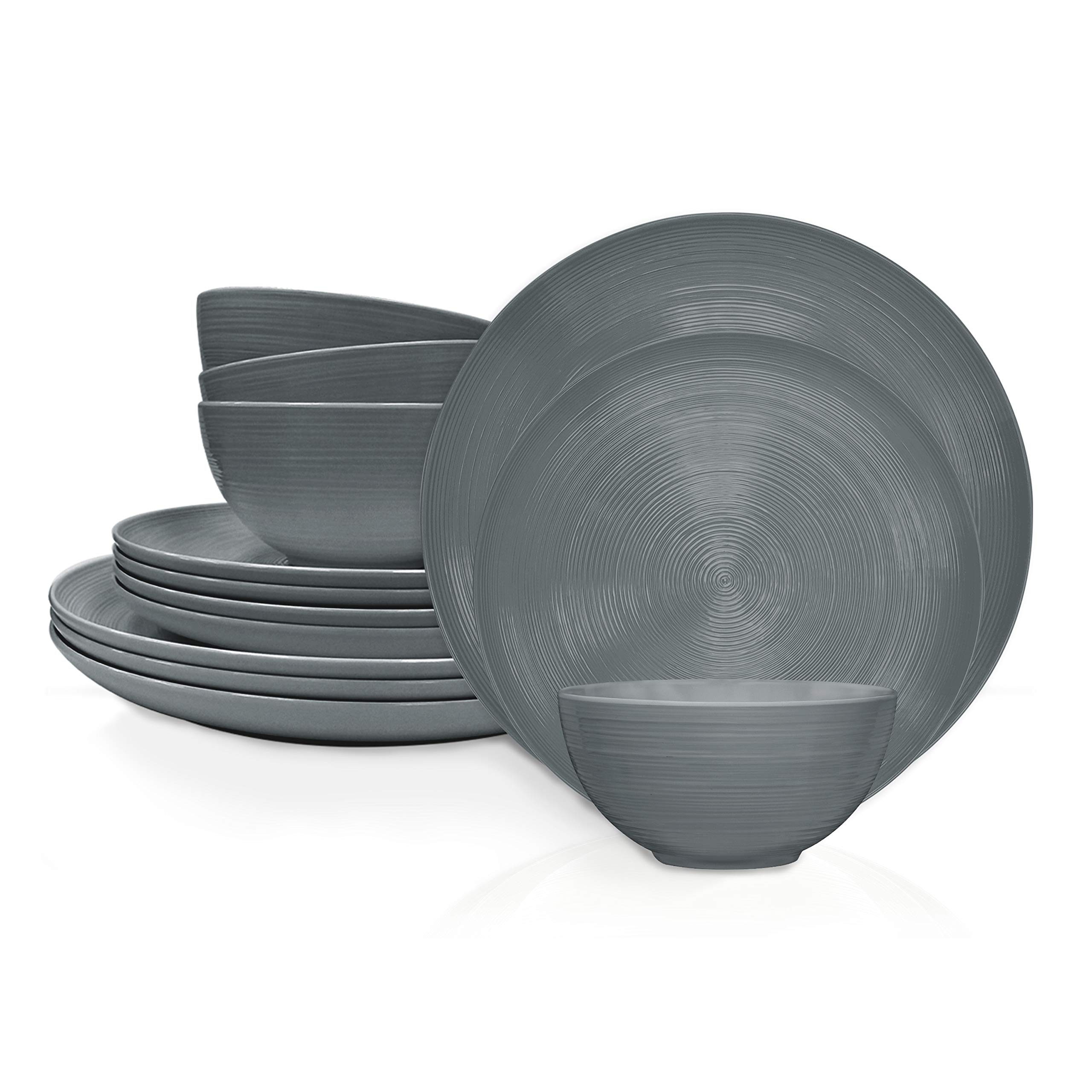 Zak Designs American Conventional Melamine 12 Piece Dinnerware Set Service for 4 Includes Dinner Plates, Salad Plates, and Individual Bowls, Durable and BPA Free (Charcoal)
