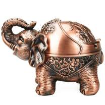 Vintage Decorative Windproof Ashtray with Lid for Cigarettes Metal Portable Cigar Ashtray Odor Eliminator Indoor outdoor Hand Carved Stand Lucky Elephant Fancy Gift ornament for Men Women (Red Copper)