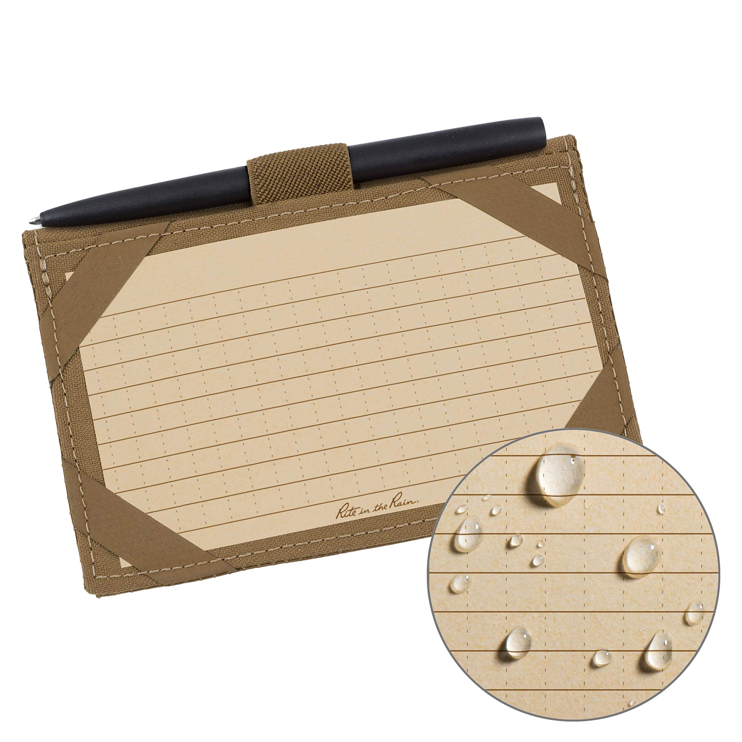"""Rite in the Rain Weatherproof Index Card Kit: Tan CORDURA Fabric Cover, 100 Tan 3"""" x 5"""" Index Cards, and an Weatherproof Pen (No. 991T-KIT)"""