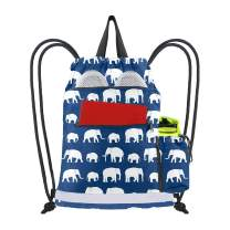 Drawstring Bag with 2 Zipper Front Pockets Washable String Backpack Cinch Sack for Women Men Unisex w Side Sling Pouch Beach Travel Camping Workout Gear Heavy Duty Cute Animal Elephant Print