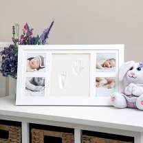 """Nuby Baby Hand & Footprint Kit with Frame That Holds Four 3 x 3"""" Photos & 1 Clay Print Kit for Newborn Girls & Boys, Personalized Baby Gift"""
