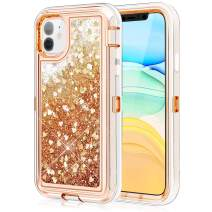 Caka Protective Case for iPhone 11 Glitter Case Protective Bling Sparkle Heavy Duty Liquid Flowing Love Shockproof TPU Bumper Clear Women Girl Case for iPhone 11 (6.1 inch)(Love Gold)