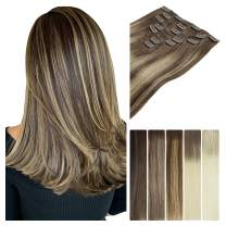 LeaLea Remy Human Hair Extensions Clip In Ombre 22 Inch Chocolate Brown To Honey Blonde, 7pcs 120g 100% Real Hair Seamless Extension Straight