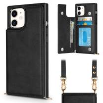 Vofolen Compatible with iPhone 11 Case Wallet Card Holder Lanyard Neck Crossbody Detachable Strap Protective Square Flip Slim Cover Soft PU Leather Double Magnetic Clasp for iPhone 11 6.1inch Black