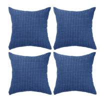"""Set of 4,Decorative Navy Blue Throw Pillow Covers 18"""" x 18"""" (No Insert),Solid Cozy Corduroy Corn Accent Square Pillow Case Shams,Soft Velvet Cushion Covers with Hidden Zipper for Couch/Sofa/Bedroom"""