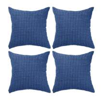 "Set of 4,Decorative Navy Blue Throw Pillow Covers 22"" x 22"" (No Insert),Solid Cozy Corduroy Corn Accent Square Pillow Case Sham,Soft Velvet Large Cushion Cover with Hidden Zipper for Couch/Sofa/Bed"