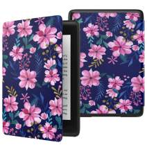 MoKo Case Fits Kindle Paperwhite (10th Generation, 2018 Release), Thinnest Lightest Smart Shell Cover with Auto Wake/Sleep for Amazon Kindle Paperwhite 2018 E-Reader - Blue & Pink Flower