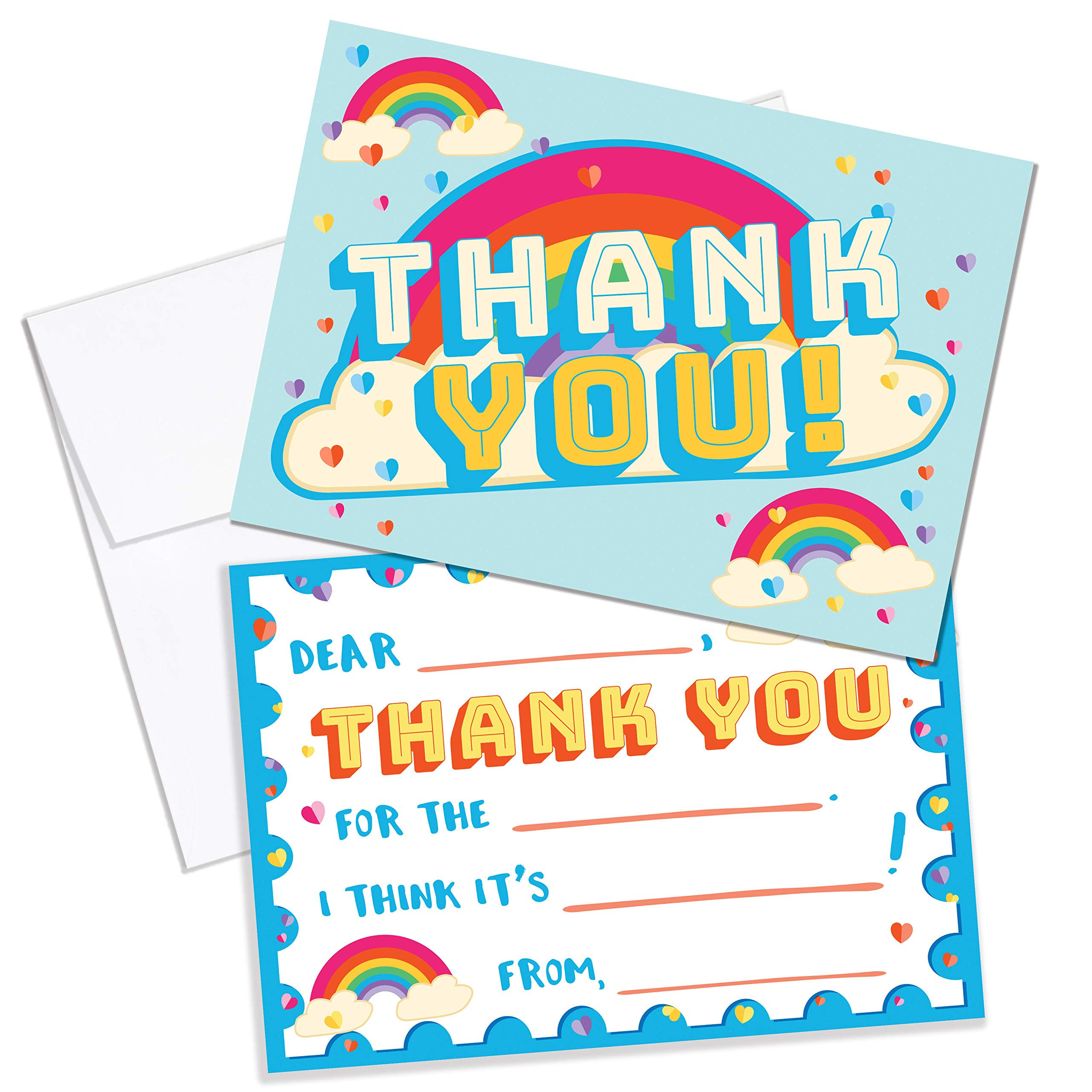 Fill in The Blank Thank You Cards for Kids, 25 Thank You Cards Kids, Girls, Boys, Children, Toddlers. Heart & Rainbow Thank You Notes Kids with Envelopes