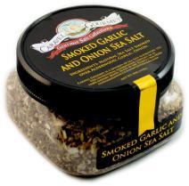 Smoked Garlic & Onion Fine Sea Salt - All-Natural Sea Salt with Minced Garlic & Onion, Slowly Smoked Over Alderwood - Gluten Free, No MSG, Non-GMO - Cooking & Finishing Salt - 4 oz. Stackable Jar