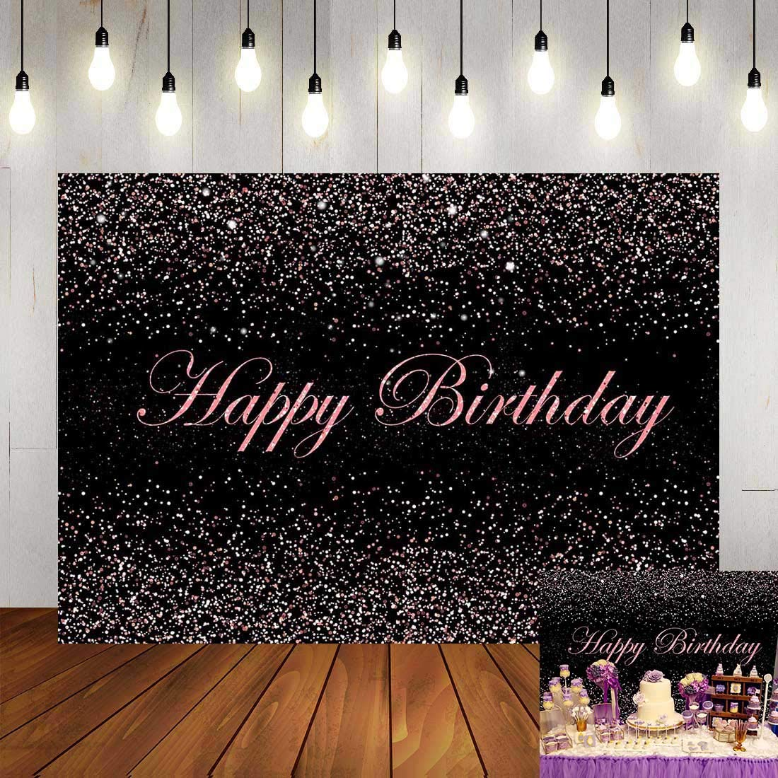 Sweet Glitter Sequin Spot Rose Pink Dots Birthday Backdrop Girls Adult Woman's Happy Birthday Party Photo Background 7x5ft Polyester Queen Party Banner Decorations Photo Studio Props Fabric