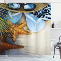 "Ambesonne Beach Shower Curtain, Dream on The Tropical Beach Seashell Starfish Sea Star Sunglasses Flip Flop Slippers, Cloth Fabric Bathroom Decor Set with Hooks, 70"" Long, Green Blue"