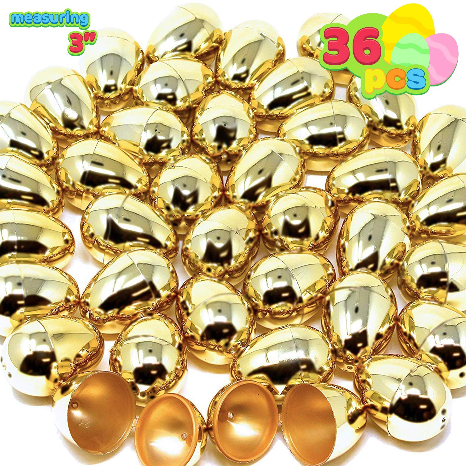 """36 Pieces Shiny large Golden Metallic Easter Eggs 3"""" in Gold Color for Filling Specific Treats, Easter Theme Party Favor, Eggs Hunt, Basket Stuffers Fillers, Classroom Prize Supplies"""