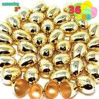 "36 Pieces Shiny large Golden Metallic Easter Eggs 3"" in Gold Color for Filling Specific Treats, Easter Theme Party Favor, Eggs Hunt, Basket Stuffers Fillers, Classroom Prize Supplies"