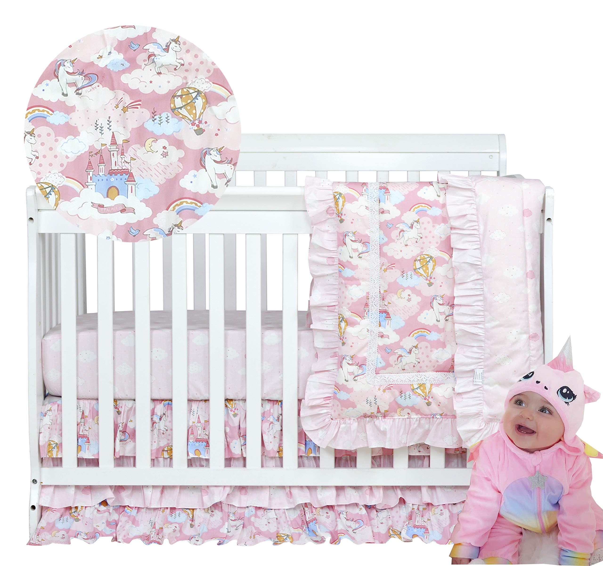 Brandream Unicorn Crib Bedding Sets for Girls Pink Nursery Bedding with Rainbow, Organic Cotton Ruffle Comforter Sets with Cute Cloud Star Print 3 Piece, Hot Baby Shower Gift