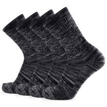 JOURNOW Women's Extra Warm Merino Wool Crew Cushion Socks 4 Pairs