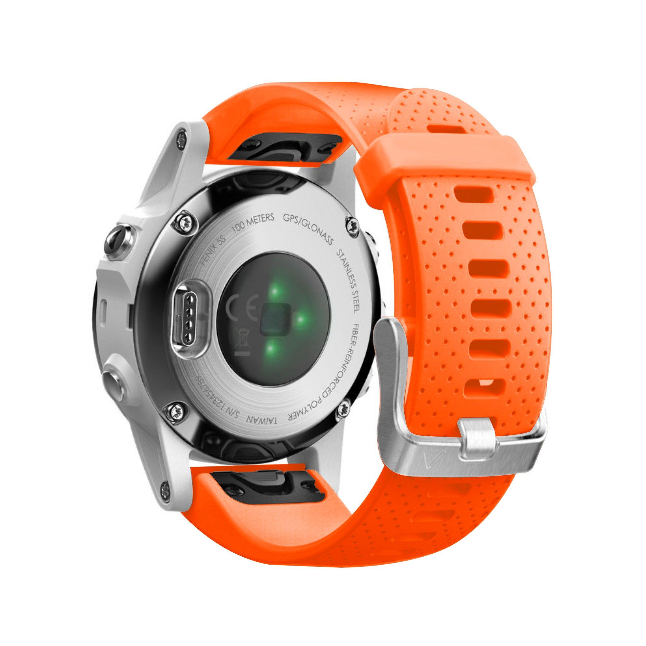 NotoCity Compatible Fenix 5S Watch Band Easy Fit Soft Silicone 20mm Replacement Watch Strap for Fenix 5S / 5S Plus/Fenix 6S/Fenix 6S Pro/D2 Delta S Smartwatch(Silver Buckle-Orange)