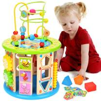 BATTOP 10-in-1 Multi Play Activity Cube,Baby Wooden Activity Cube Toys Bead Maze Educational Toys for 1 Year Old Boys & Girls Activity Center, Toys for Kids Girls & Boys Age 1、2、3、4、5