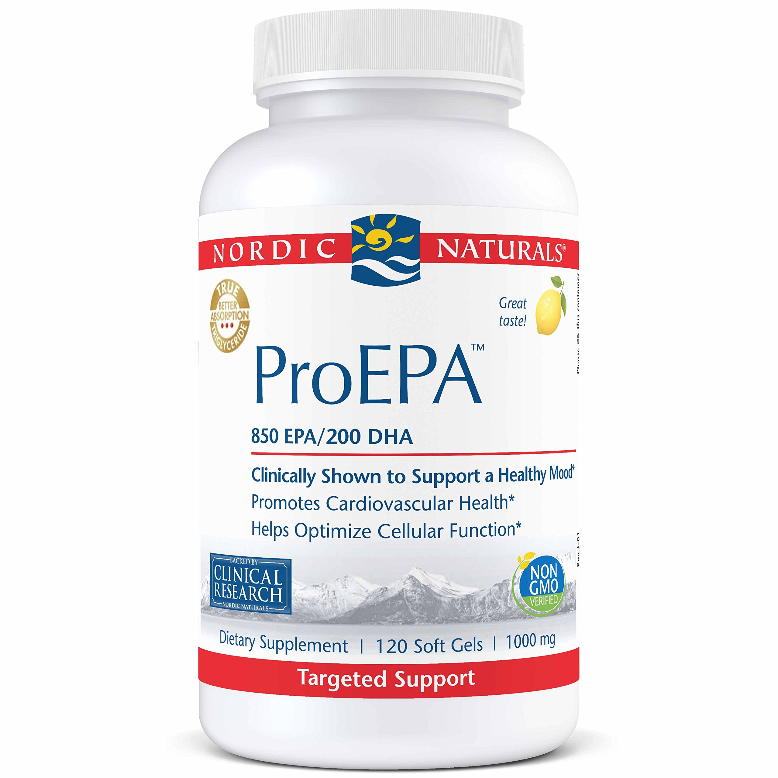 Nordic Naturals ProEPA - Fish Oil, 850 mg EPA, 200 mg DHA, Targeted Support for Cardiovascular Health, a Healthy Mood, and Optimal Cellular Function*, Lemon Flavor, 120 Soft Gels