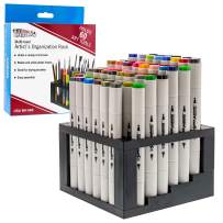 U.S. Art Supply 60 Hole Multi-Level Plastic Organization Rack Pencil, Brush & Supply Holder - Desk Stand Holding Rack for Pens, Paint Brushes, Colored Pencils, Markers