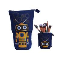 Telescopic Slidable Robot Case for Stationery Pencils Pens Makeup iPhone/Android Phones Gadget Accessories Pouch (Navy Blue)