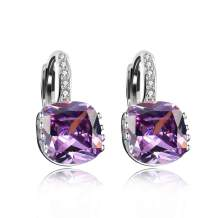 Uloveido Women's Platinum Plated Cubic Zirconia Square Crystal Lever Back Earrings (Blue,Pink,Purple,White) DML115