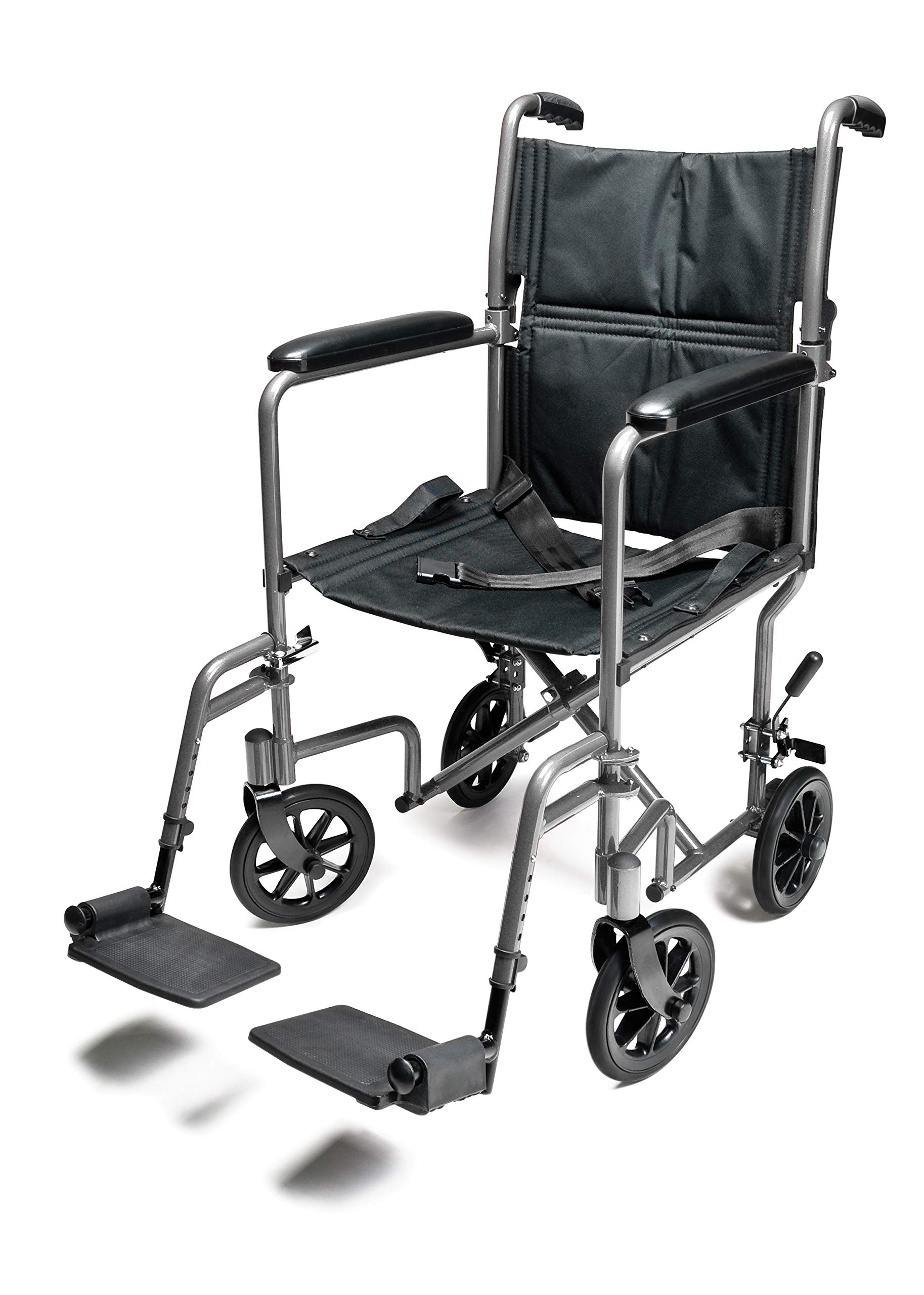"Everest & Jennings Aluminum Transport Wheelchair, Fixed Full Arms & Swingaway Footrests, 19"" Seat, Silver Color"