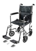 """Everest & Jennings Aluminum Transport Wheelchair, Fixed Full Arms & Swingaway Footrests, 19"""" Seat, Silver Color"""