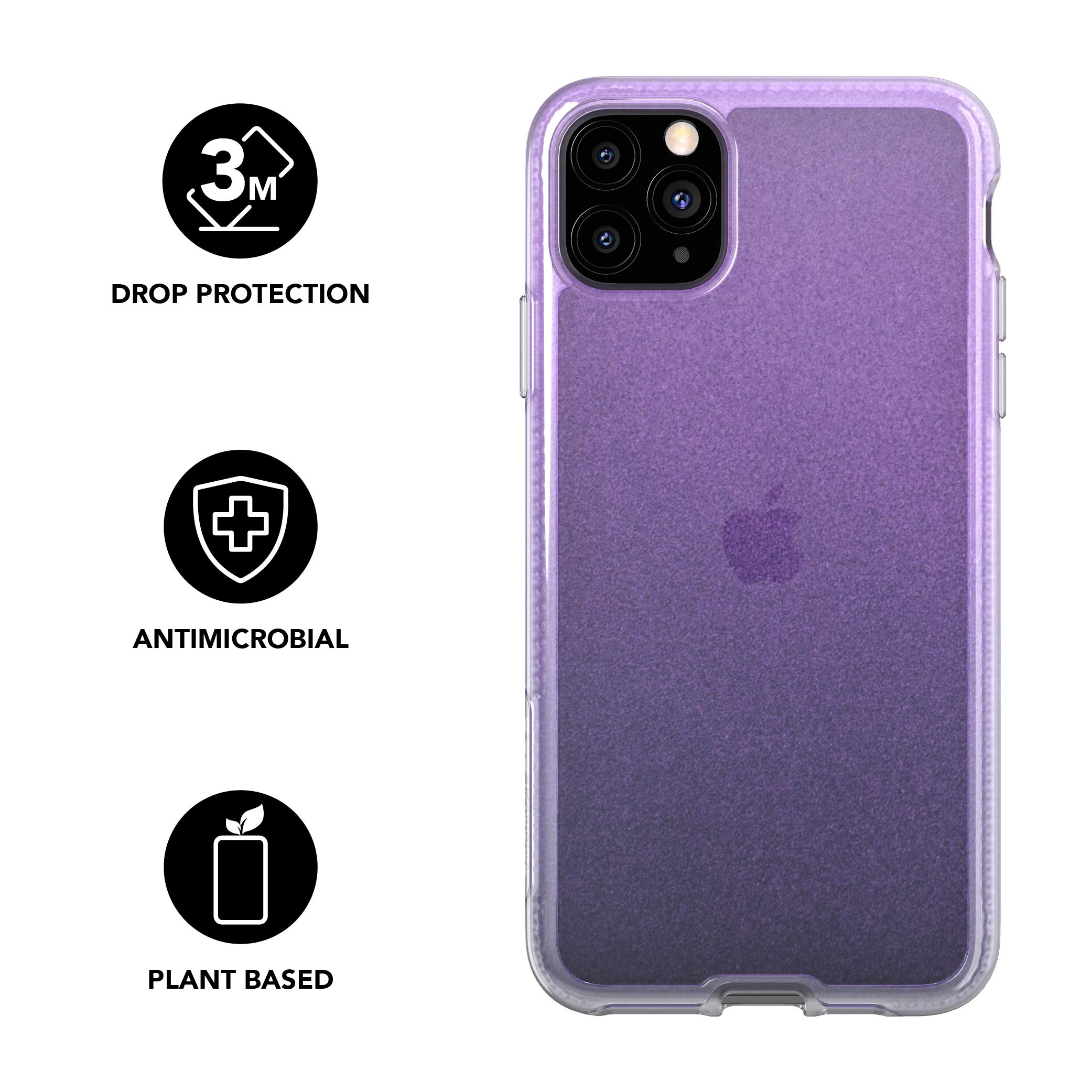tech21 Pure Shimmer Mobile Phone Case - Compatible with iPhone 11 Pro Max - Ultra Thin, Shimmer Effect with Anti-Microbial Properties and Drop Protection, Pink