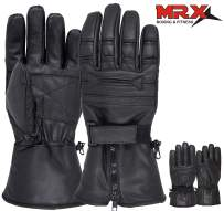 Men's Motorcycle Gloves Cold Weather Protective Motorbike Leather Glove Black X-Large