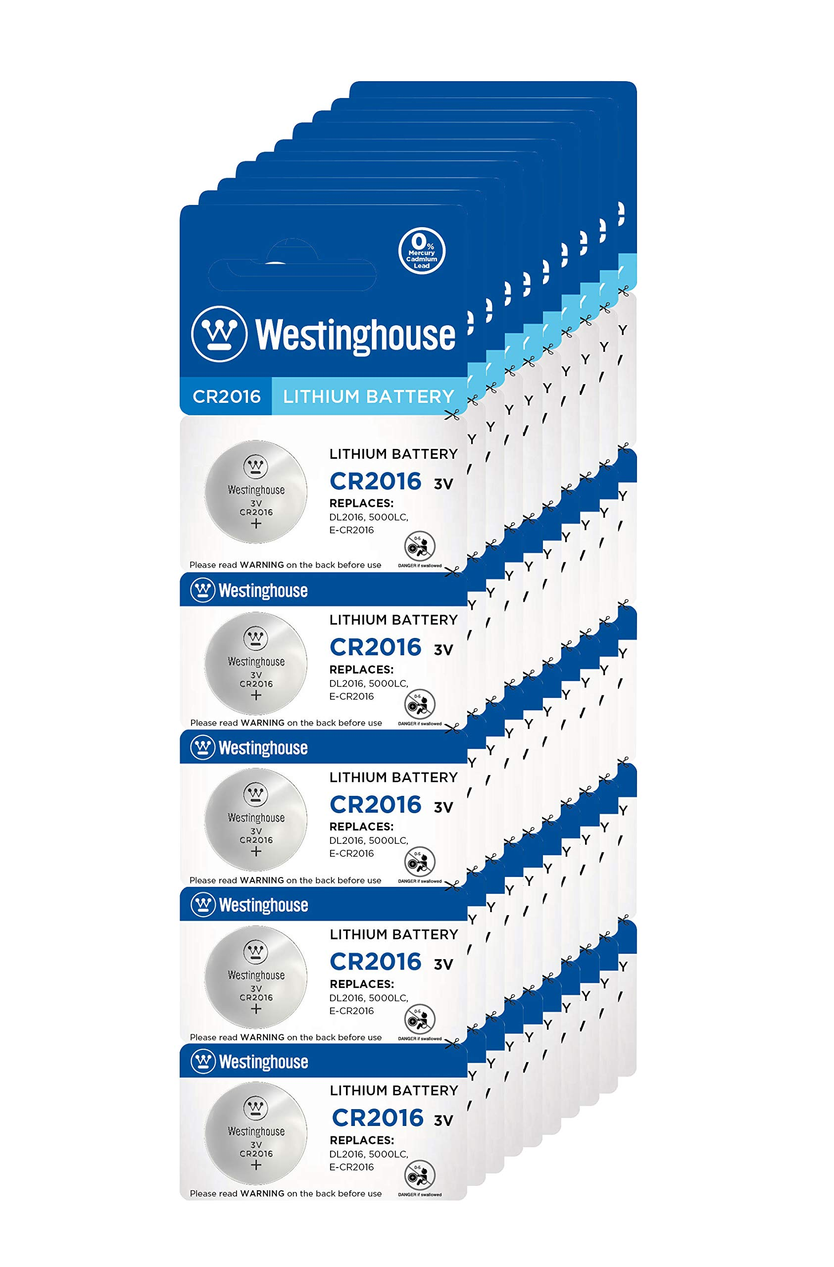 Westinghouse CR2016 Lithium Button Cell, Button Batteries, Coin Cells, Remote Battery, Remote Battery Cells (50 Counts)