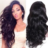 Premier Wig Body Wave Lace Front Wigs Glueless Brazilian Remy Human Hair Natural Deep Body Wave Lace Wigs with Baby Hair for Women 16Inches Natural Color Natural Hair Wigs