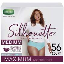 Depend Silhouette Incontinence Underwear for Women, Maximum Absorbency, Disposable, Medium, Berry & Teal, 56 Count (2 Packs of 28) (Packaging May Vary)