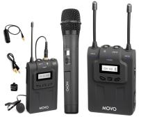 Movo WMIC80 UHF Wireless Handheld + Lavalier Microphone System with Handheld Mic with Integrated Transmitter, Lavalier Mic with Bodypack Transmitter, Portable Receiver for DSLR Cameras (330' Range)