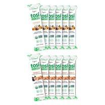 Tosi Organic SuperBites Vegan Snacks, Super Combo 6 Peanut Dark Chocolate and 6 Cashew Coconut, Gluten Free, Omega 3s, Fiber, 1oz