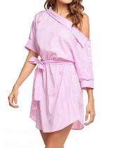 UNibelle Women's One Shoulder Striped Shirt Dress Half Sleeve Off Shoulder Side Split Ruffles Mini Dresses