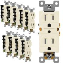 ENERLITES Duplex Receptacle Outlet, Tamper-Resistant, Residential Grade, 3-Wire, Self-Grounding, 2-Pole,15A 125V, UL Listed, 61580-TR-LA-10PCS, Light Almond (10 Pack)