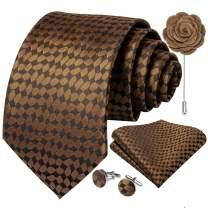 DiBanGu Plaid Formal Ties Set for Men Pocket Square Cufflink and Tie-pin Gift Box