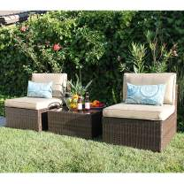 Super Patio 3 Piece Patio Set, Outdoor Wicker Patio Furniture Sets, All-Weather Rattan 2 Armless Sofa Chair with Coffee Table, Brown