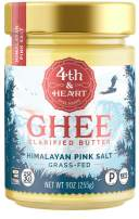 Himalayan Pink Salt Grass-Fed Ghee Butter by 4th & Heart, 9 Ounce, Keto, Pasture Raised, Non-GMO, Lactose Free, Certified Paleo