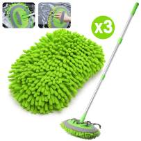 HOUSE DAY 2-in-1 Car Wash Mop Mitt Long Handle Chenille Microfiber Car Wash Dust Brush Extension Pole 180 Degree Rotation Scratch Free Cleaning Tool Dust Collector Supplies,3 Pcs Mop Heads (Green)