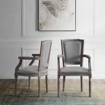 Modway Penchant French Vintage Upholstered Fabric Two Armchairs with Nailhead Trim in Light Gray